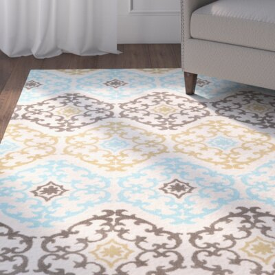 Sprottle Hand-Tufted Beige/Blue/Green Area Rug Rug Size: 8 x 10