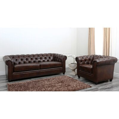 Charlton Home CHLH4923 32014595 Molly Premium Italian Leather Sofa and Arm Chair Set