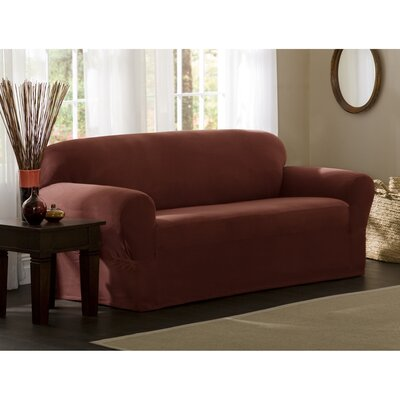 Box Cushion Sofa Slipcover Set Upholstery: Red