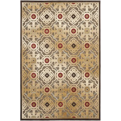 Imperial Palace Brown/Red Area Rug Rug Size: 53 x 76