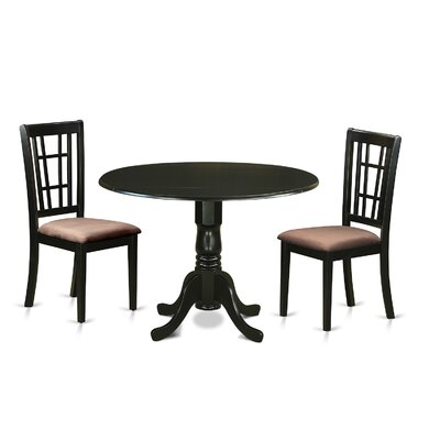 Image of Gloucester 3 Piece Dining Set Upholstery: Microfiber