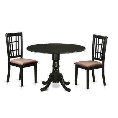 Gloucester 3 Piece Dining Set Upholstery: Microfiber
