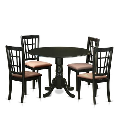 Image of Gloucester 5 Piece Dining Set Upholstery: Microfiber