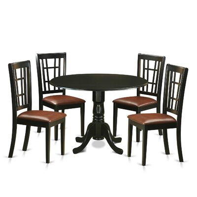 Image of Gloucester 5 Piece Dining Set Upholstery: Faux Leather