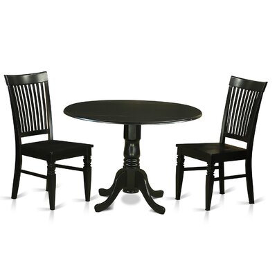 Gloucester 3 Piece Dining Set Finish: Black
