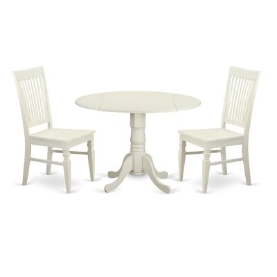 Gloucester 3 Piece Dining Set Color: Linen White