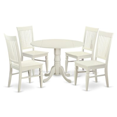 Abrahamic 5 Piece Drop Leaf Wood Dining Set Color: Linen White