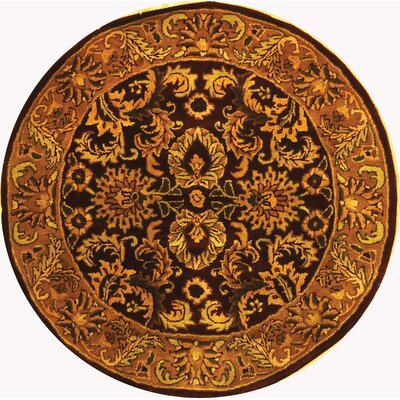 Bromley Burgundy/Gold Rug Rug Size: Round 6