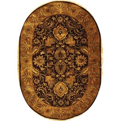 Bromley Burgundy/Gold Rug Rug Size: Oval 46 x 66