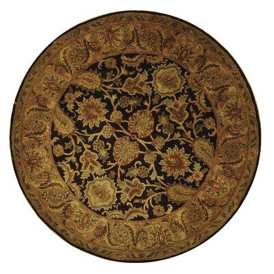 Bromley Dark Plum/Gold Rug Rug Size: Round 6