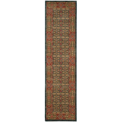 Froehlich Light Blue/Red Area Rug Rug Size: Runner 22 x 8
