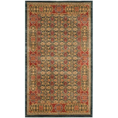 Froehlich Light Blue/Red Area Rug Rug Size: Rectangle 51 x 77