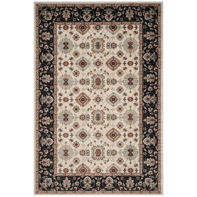 Fryar Cream/Navy Area Rug Rug Size: Rectangle 53 x 76