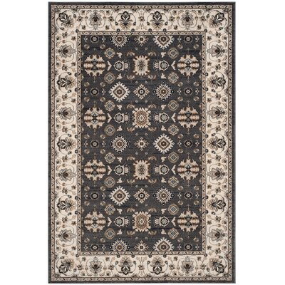 Fryar Gray/Cream Area Rug Rug Size: 53 x 76