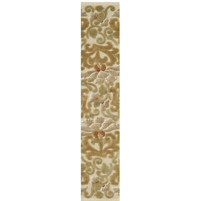 Floating Dahlia Tufted-Hand-Loomed Beige/Brown Area Rug Rug Size: Runner 22 x 6