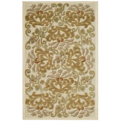 Floating Dahlia Tufted-Hand-Loomed Beige/Brown Area Rug Rug Size: 33 x 57
