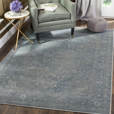 Frith Light Blue / Light Gray Area Rug Rug Size: Round 6