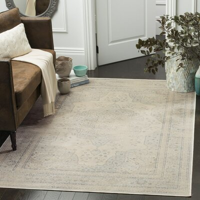 Frith Light Blue / Cream Area Rug Rug Size: 53 x 76