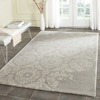 Fernville Hand-Tufted Light Grey/Ivory Area Rug Rug Size: Square 5