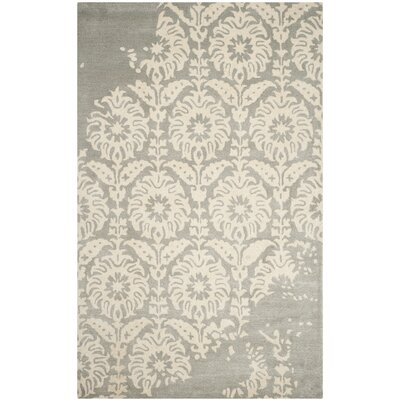Fernville Hand-Tufted Light Grey/Ivory Area Rug Rug Size: 4 x 6