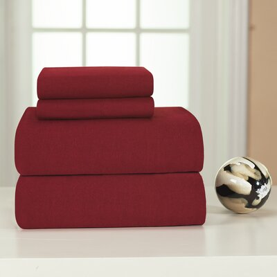 Medaryville Heavy Weight Flannel Solid Sheet Set Size: King, Color: Merlot