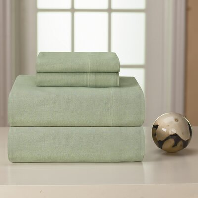 Medaryville Heavy Weight Flannel Solid Sheet Set Size: King, Color: Sage