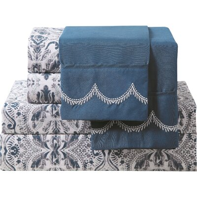 Gebhardt 6 Piece Sheet Set Size: King, Color: Navy