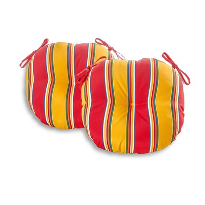 Bistro Outdoor Dining Chair Cushion Size: 18, Fabric: Carnival Stripe