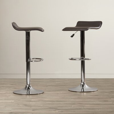 Apple Valley Adjustable Height Swivel Bar Stool Upholstery: Black