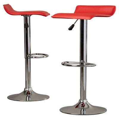 Apple Valley Adjustable Height Swivel Bar Stool Upholstery: Red
