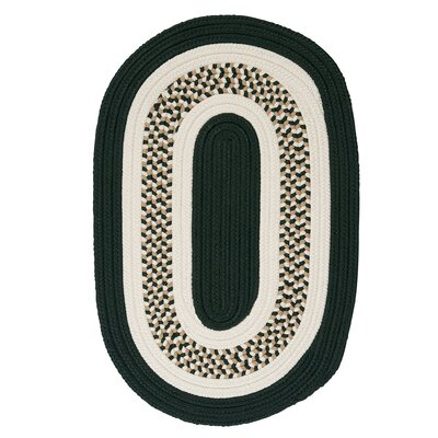 Germain Dark Green/Beige Area Rug Rug Size: Oval 7' x 9'