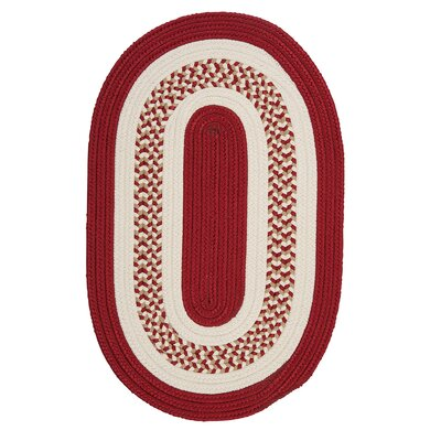 Germain Red & Beige Indoor/Outdoor Area Rug Rug Size: Oval 2 x 3
