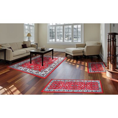 Gallaher 3 Piece Red Area Rug Set