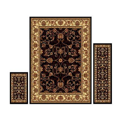 Gallaher 3 Piece Ebony Area Rug Set