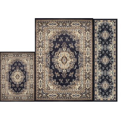 Gallaher 3 Piece Navy Blue Area Rug Set