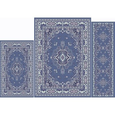 Gallaher 3 Piece Country Blue Area Rug Set