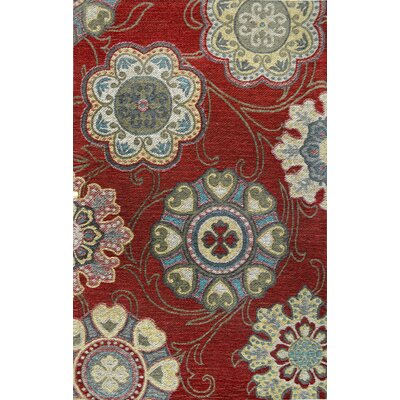 Gault Red Area Rug Rug Size: 22 x 37