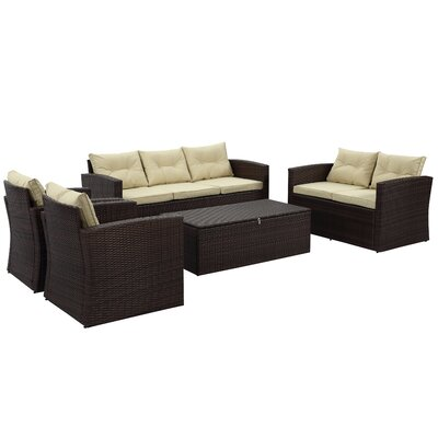 Garmon 5 Piece Deep Seating Group with Cushion