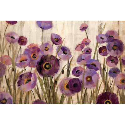 Pink and Purple Flowers Painting Print on Wrapped Canvas Size: 12