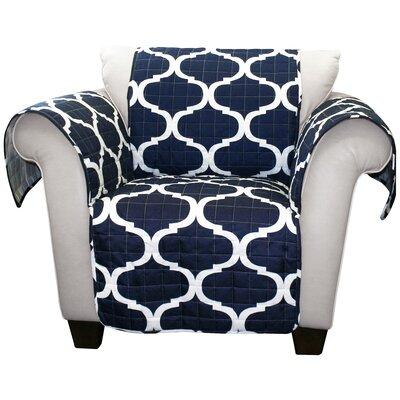 Box Cushion Armchair Slipcover Upholstery: Navy