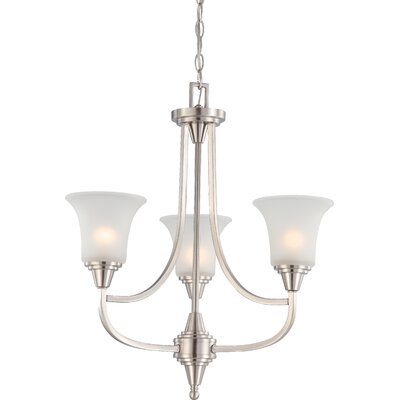Reynal 3-Light Shaded Chandelier Finish / Shade Type: Brushed Nickel / Frosted