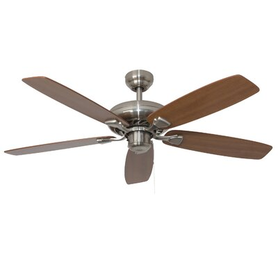 52 Carol 5-Blade Indoor Ceiling Fan Finish: Brushed Nickel