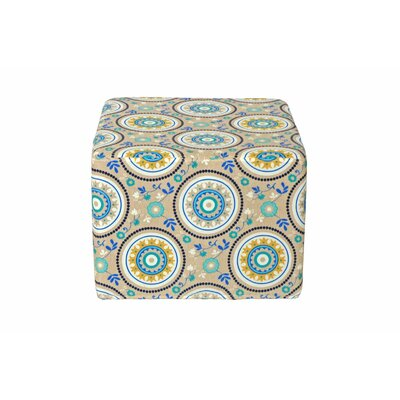 Dale Cube Ottoman Fabric: Teal Circles