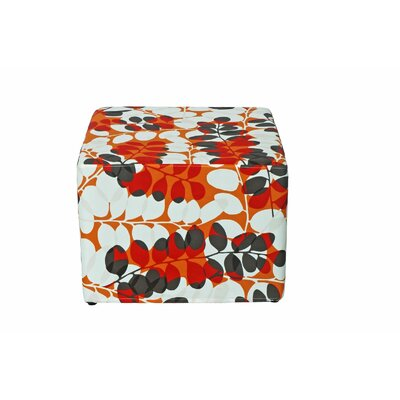 Dale Cube Ottoman Fabric: Red Floral