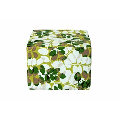 Dale Cube Ottoman Fabric: Green Floral