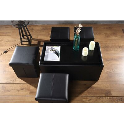 Dorchester 5 Piece Storage Bench and Folding Storage Ottoman Set