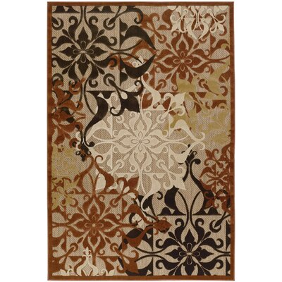 Clarendon Tan/Terracotta Indoor/Outdoor Area Rug Rug Size: 7'6