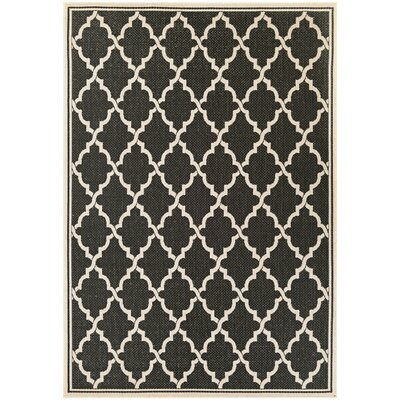 Cardwell Ocean Port Black/Sand Indoor/Outdoor Area Rug Rug Size: Rectangle 53 x 76