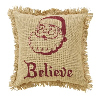 Elvin Burlap Santa Believe Fringed 100% Cotton Throw Pillow