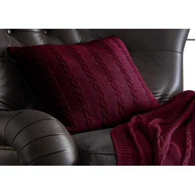Gilland Cable Knit Cotton Deco Pillow Color: Red
